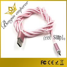 Factory supply Free samples phone data retractable custom android micro braided usb cable for v8