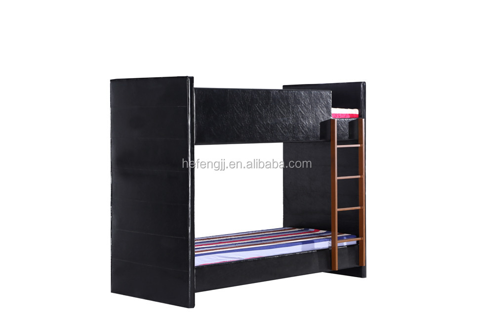 Black Faux Leather Twin Bunk Bed