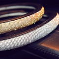 Luxury Crystal Diamond Car Steering Wheel Cover PU Leather Cool Bling 15'' 38cm