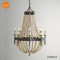 New american country style wood beads chandelier lighting wrought iron antique classic pendant lamp in china