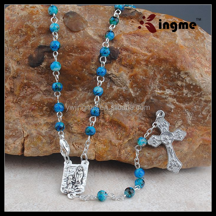 Small Glass Bohemian Beads Rosary Necklace with Holy Crucifix