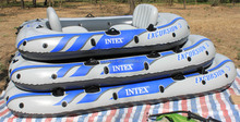 INTEX excursion 4 person fishing boat inflatable fishing boat with outboard motor