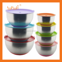 18cm Stainless steel mixing bowl with silicone bottom and lids