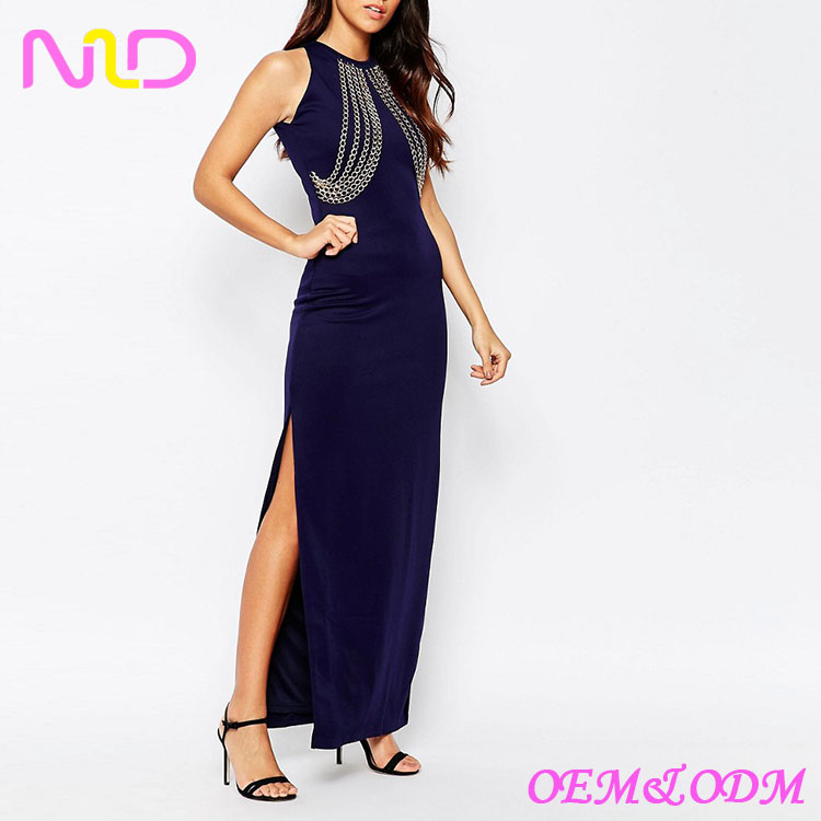 Ladies Rare Chain Front sexy Side Split long Maxi Dress