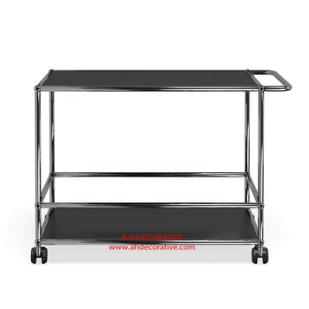 2 Trays Serving Trolley With Black Powder Coated