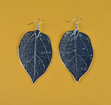 Custom Silver Color Big Iron Leaf Pendant Earring for Gift/Party