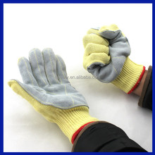 2015 China manufacturer pvc dotted working glove Cotton Lined Cow Grain Leather Work Glove