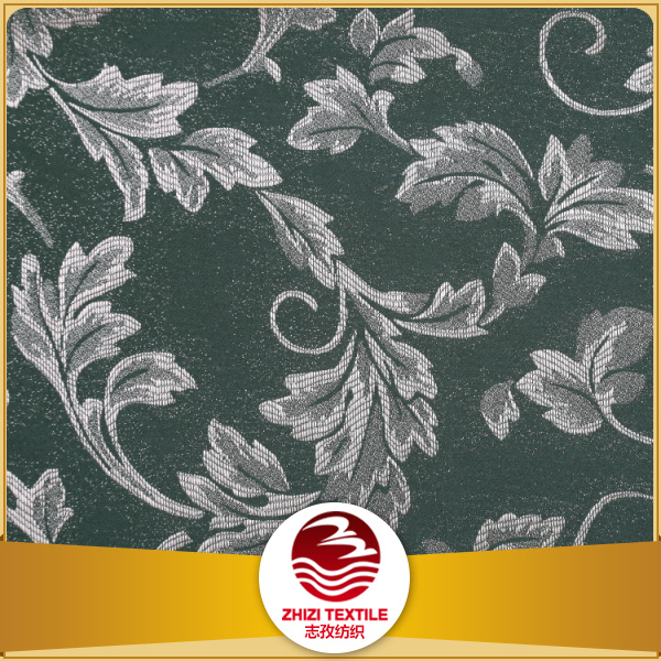 Shaoxing home textile green color dyeing 100% spun polyester jacquard curtain fabric
