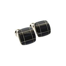 High quality new design men's accessories high end black agate cufflinks
