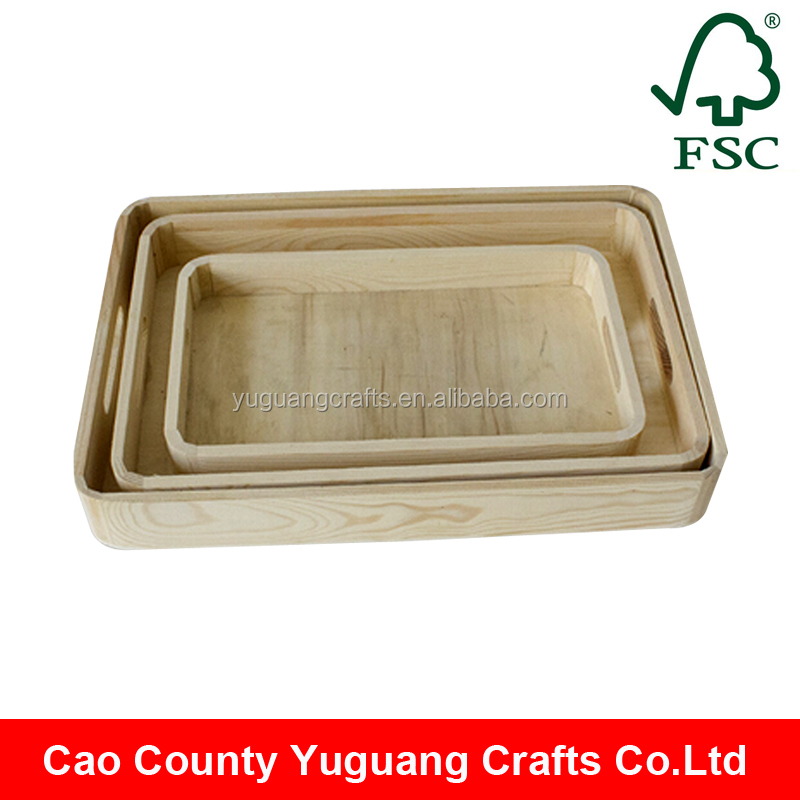 custom wholesale unfinished wood trays flower/wooden tray with handles