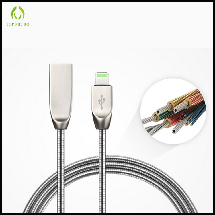 New Design OEM Quick Charge Metal Round Data Line for iPhone USB Charger Cable