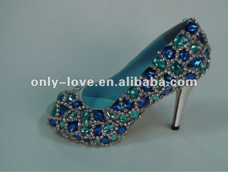 BS542 peep toe blue big stones crystals bridal wedding shoes party shoes