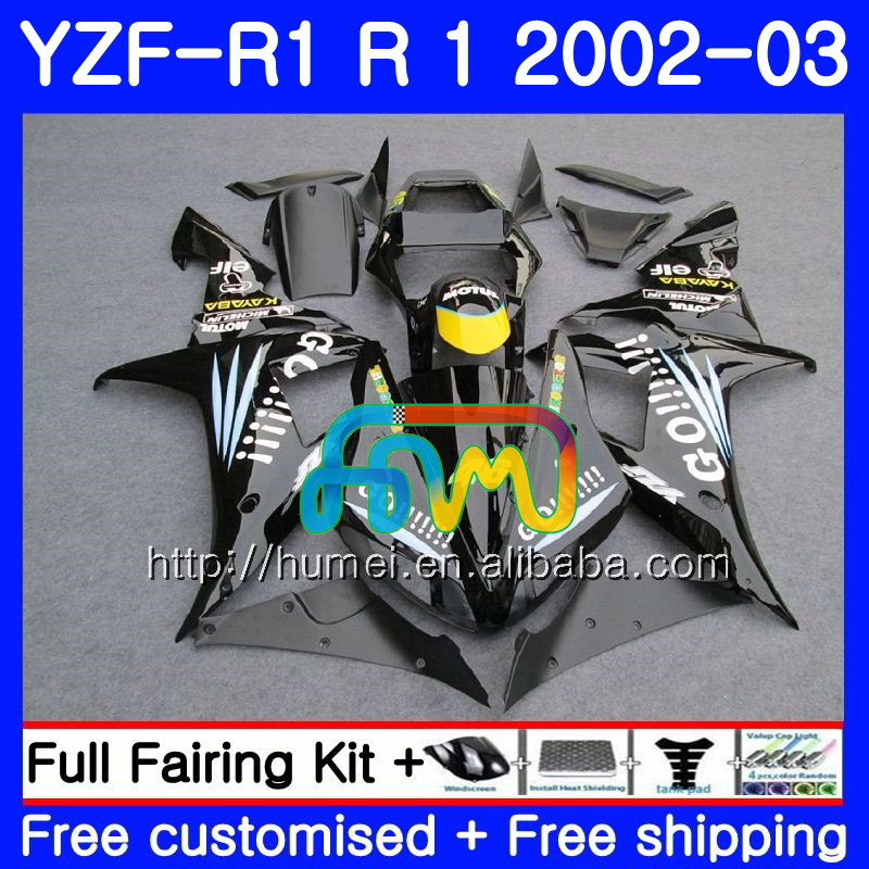Body For YAMAHA YZF Black GO!!!! 1000 YZFR1 <strong>02</strong> <strong>03</strong> YZF-1000 Bodywork 99HM26 YZF R 1 YZF <strong>R1</strong> <strong>02</strong> <strong>03</strong> YZF1000 YZF-<strong>R1</strong> 2002 2003 <strong>Fairing</strong>