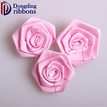 Wholesale pink 100% polyester making satin ribbon bows flower for garment /gift accessories
