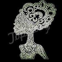 fashion afro kinky hair extensions transfer rhinestone iron on heat motif