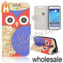 Cute Owl Wallet Magnetic Flip Stand TPU+Leather Case for Samsung Galaxy S4 Mini I9190