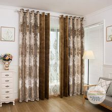 Luxury damask pattern printed velvet blackout curtains for the living room