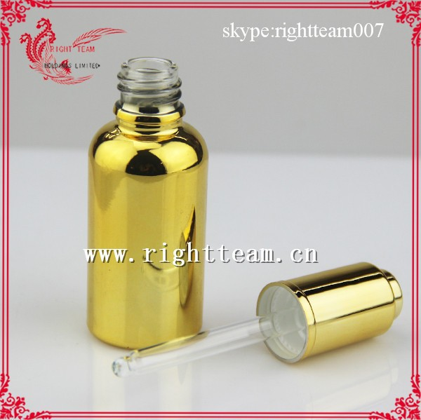 glass dropper bottle gold electroplate gold/purple for e liquid,essential oil with hi-q tube