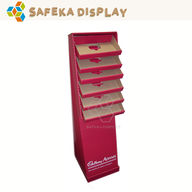 6 tier Promotion Paper Display shelf Cardboard Advertising Corrugated Store Design Pop Floor Stand for cadbury Chocolate