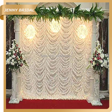 Super September White chiffon or ice silk wedding backdrops curtain design for sale