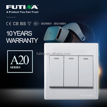 Futina A20 series 16A 250V 3 gang 1 way wall switch with indicator light switch