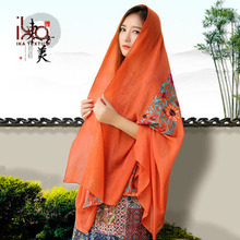 Gift Women Long Orange Embroidery Wholesale Fashion Muslim Islamic Arabic Scarf Shawl Hijab