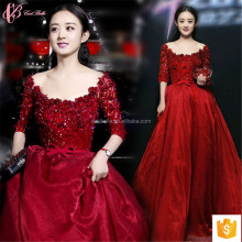 Short Sleeve Ladies Wine Red Party Evening Dinner Dress Elegant Wholesale