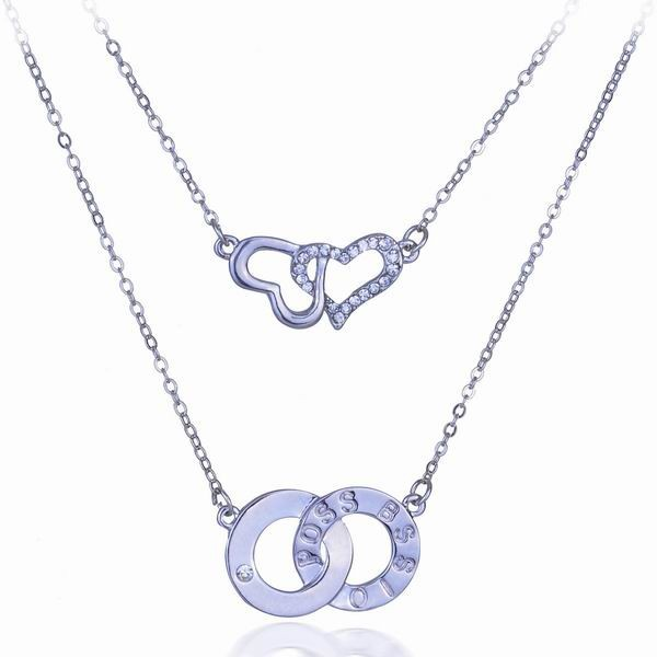 Yiwu Duoying Jewelry Factory Double Heart Necklace, Circle Pendant Meaning Together
