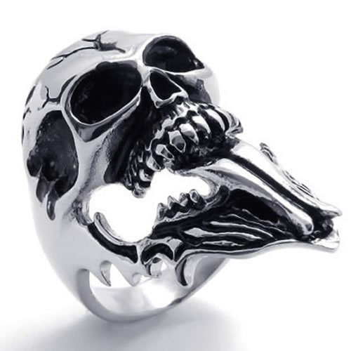 Gentleman's Hot Sale Popular Jewelry Stainless Steel Black Silvery Gothic Devil's Skull Shape Punk Style Ring sizes:8-12