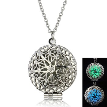 New Design Women Men Couple Magic Pretty Round Luminous Locket Glow In The Dark Pendant Necklace