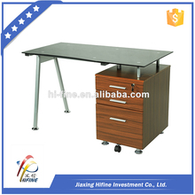 black tempered glass computer desk with wood cabinets,computer desk designer,computer desk side table