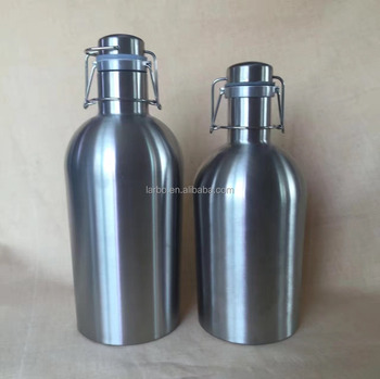 stainless steel vacuum beer growler with easy drink lid