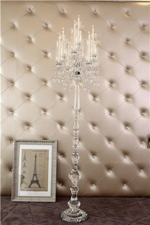 SH-1551 HOT!! 9 arms tall hanging wedding table centerpiece crystal candelabra with flower bowl