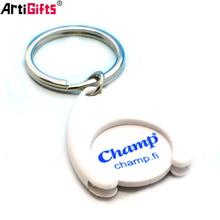 Wholesale Custom Bulk Cheap promotion plastic coin holder keychain