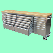 wood top 24 drawers stainless steel 96 inch metal truck tool box
