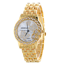 Relogio Feminino Men Clock New Famous Brand Gold Crystal Geneva Casual Quartz Watch Women Stainless Steel Dress Watches