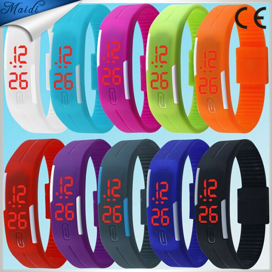 China waterproof Touch square dial Digital Jelly Silicone Bracelet LED Sports Wrist Watch fashion Women Men Watch LMW-1