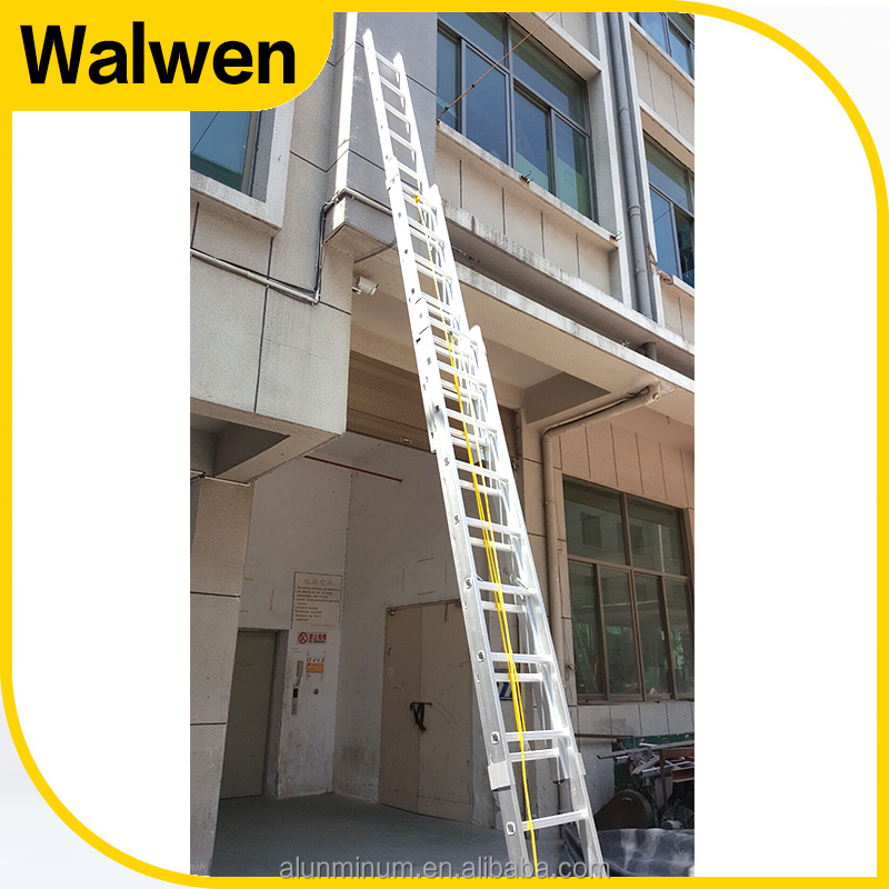 Pulley with rope three section aluminum folding extension ladder 12m