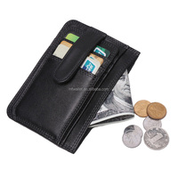 Cheap Credit Card Holder Genuine Leather Slim Mens ID Card Holder Zipper Wallet Coin Purse
