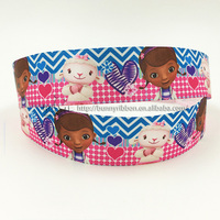 25mm doc mcstuffins custom printed satin ribbons for gift packaging