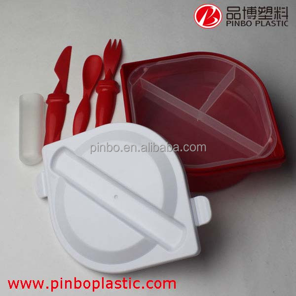 2015 New design Cooler Plastic Lunchbox,collapsible food containers with compartments
