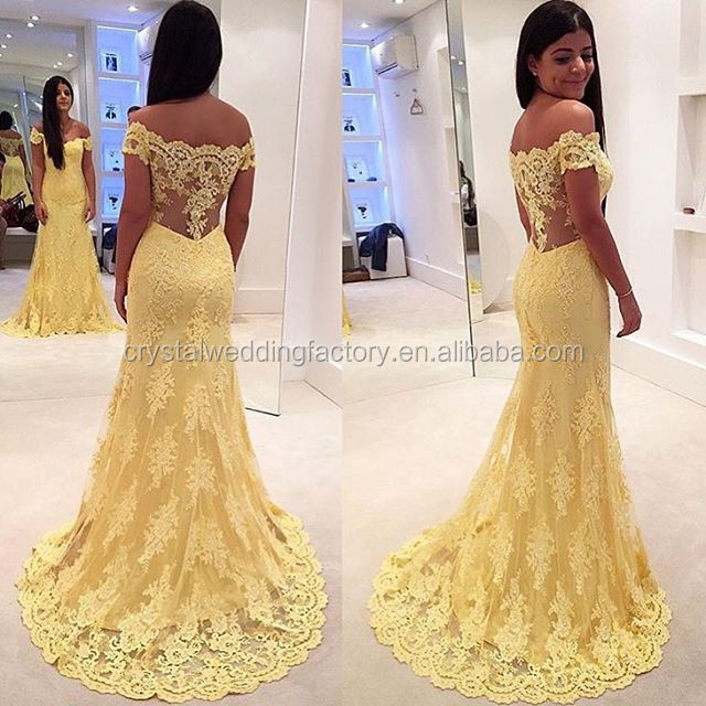Free shipping Mermaid off the Shoulder Yellow Lace vestido de festa Evening Dresses Elegant Formal Prom Dresses CWFp1975