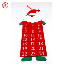 Popular Felt Fabric Santa Claus Christmas Advent Calendar with Candy Pocket design