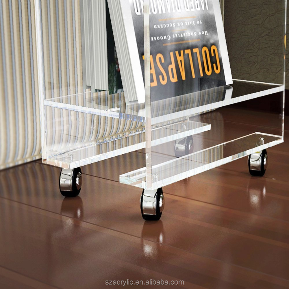 Clear modern acrylic removable magazine rack acrylic decorative table