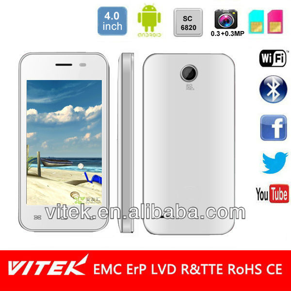 Android Smart mobile with 4 inch single Core Dual Sim