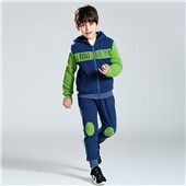 Comfortable bodysuit zipper open jacket with hoodies and pants child clothing set