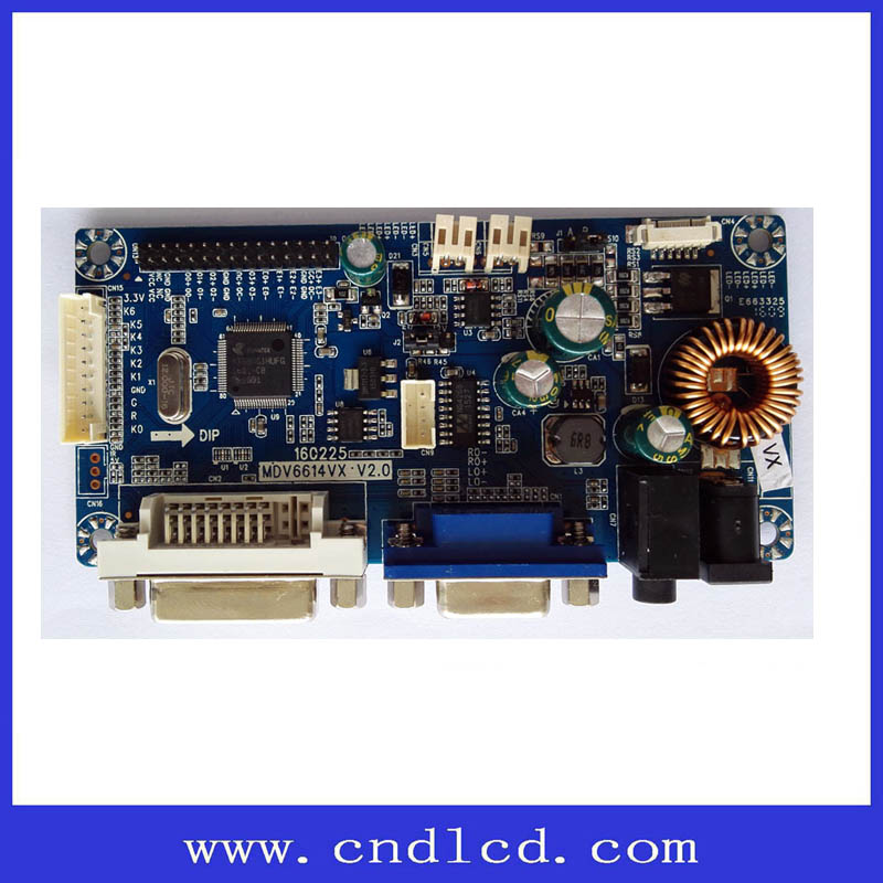 4 way LED power supply VGA DVI to LVDS LCD Monitor Board