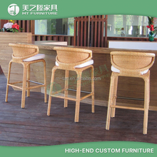 Stacking rattan wicker outdoor garden kitchen bar stools high chairs wholesale
