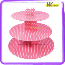 Pink Cardboard Paper Cake Stand with 3 Tiers Applicable to Moist Deluxe Cupcakes or Other Brands