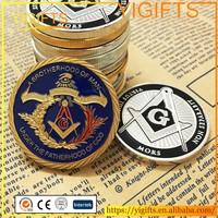Custom 1 OZ Freemasonry Masonic Coins Silver Gold Plated Replica Coin
